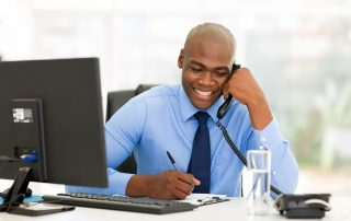 Business professional answering phone